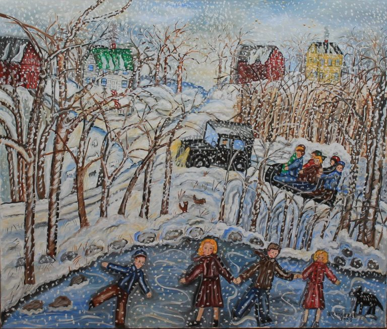 120 – Snowy day fun – 40w x _75 x 34h – 54oz – canvas on wood frame – 2500