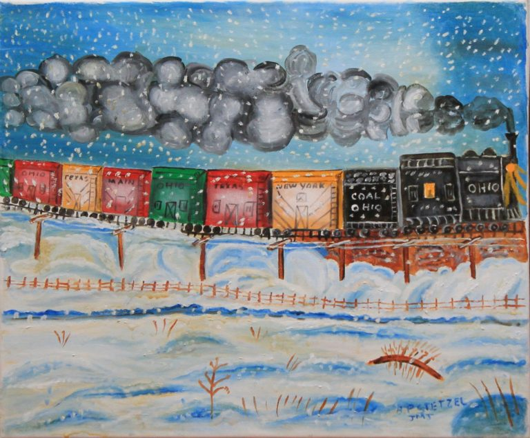 137 – Winter train scene – canvas on wood frame – 24w x _75 x 20h – 22oz – 400