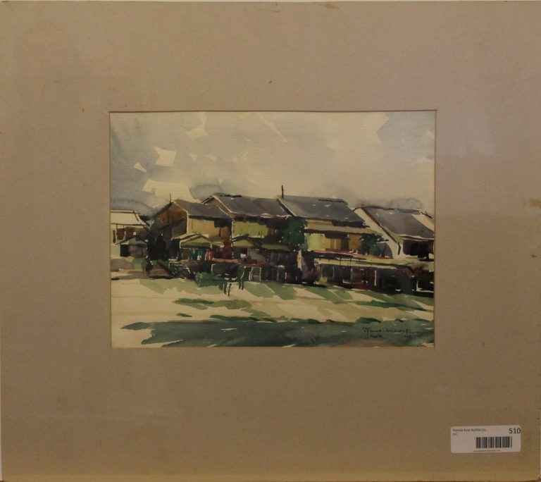 CJ19 – House on the river – Kyoto Japan – watercolor – 13oz – 9w x 12h -244