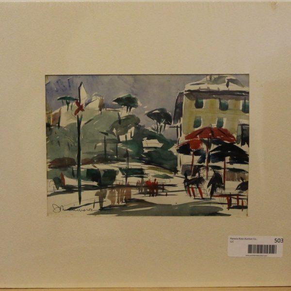 CJ7 – Portofino Piazza Portofino Italy – 8oz – watercolor – 9w x 6h – 188