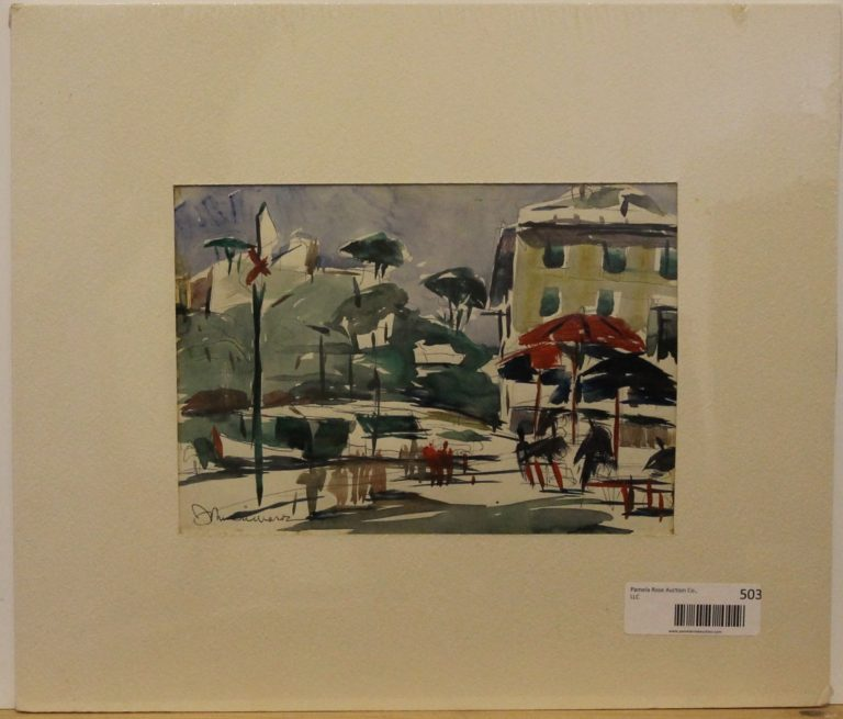 CJ7 – Portofino Piazza Portofino Italy – 8oz – watercolor – 9w x 6h – 188