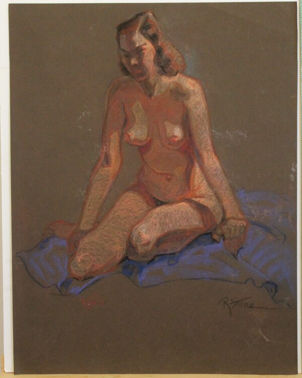 R158a – Double sided – Nude woman – 19_5w x 25_5h