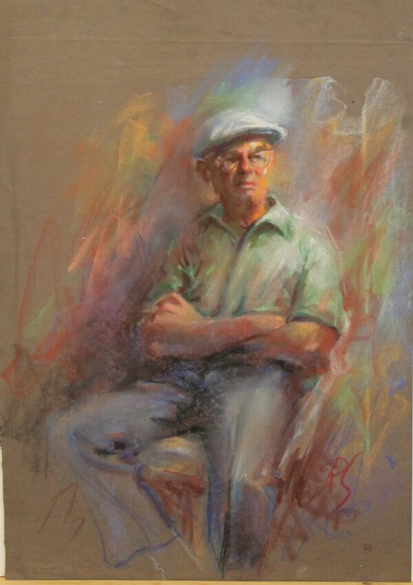 R184 – Man with arms crossed in green shirt – 19_5w x 27_5h